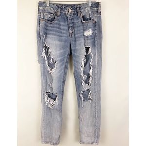 American Eagle Tom Girl Destroyed Jeans Sz 4